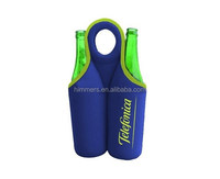 2015 customized factory neoprene double wine bottle tote/holder with handle