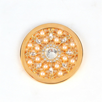 everlasting flower peal and crystal gold plate 33mm coin pendant jewelry
