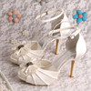 Princess Style Bow Ivory Wedding Shoes Sandals Ladies