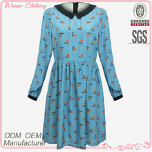 Women's Clothing OEM/ODM Manufacturer Casual Dairy Wear Polyester Chiffon Dresses New Fashion 2016