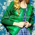 2014 popular verde chaqueta corto plumon de mujeres