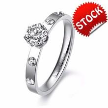 CZ Diamond rings for Lady Wedding Engagement Ring Rhinestone Finger Ring stainless steel