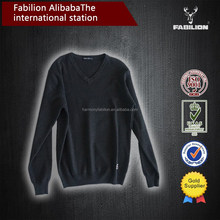 V neck delicate soft men black100% wool sweater for alibaba express china