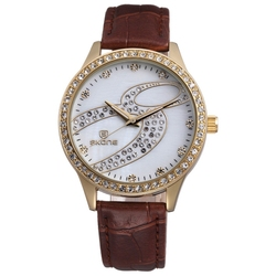 SKONE 9286 vogue lady watch stainless steel case back watch Japanese quarz movement watch