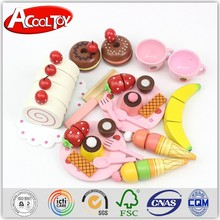 alibaba.com new advertising idea pink cutting game wooden kitchen toy set
