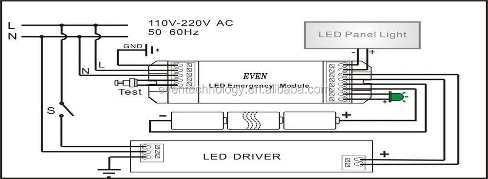 Emergency test button for led emergency lighting kits buy test led panel connection diagramg asfbconference2016 Image collections