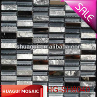 Persian waves grey marble mosaic Good quality hand drawing glass mosaic mix stainless steel a Cheap mosaic tiles HG-SH8040