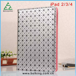 Wholesale price Diomand stand leather case for ipad 2 3 4 with card holder