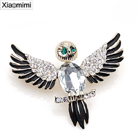 Chinese style owl wings crystal brooch pin collar suit