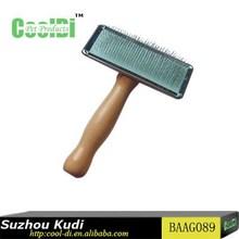 Pet grooming wood handle slicker brush for cleaning