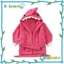 Peach Pink Shark Design Animal Baby Bathrobe