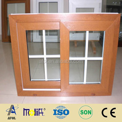 AFOL PVC double glazing swing windows in wood colour