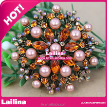 Sparkle Beautiful Wedding Crystal Rhinestone Pearl Bridal Brooch Pin/Colorful Brooch for Christmas Tree Decoration