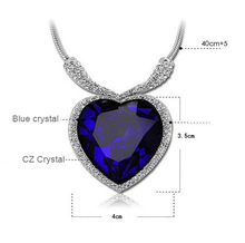 The Titanic commemorative edition full of diamond necklace Classic heart of the ocean shape women pendant necklace accessories