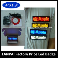 LANPAI Factory-Made Rechargeabe Led scrolling Message Board, Multi-Color Led name Badge/ Tag