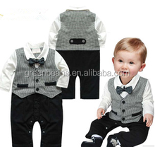 New design baby boy gentleman jumpsuit with coat handsome wholesale children's boutique clothing new born baby clothes