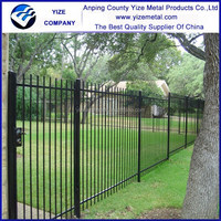 Garden Security Black Powder Coating Wrought Iron Fence/Fence panels square tube/Galvanized steel pipe fence(factory)