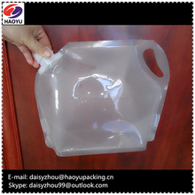 Large size stand-up spouted pouch with carry handle hole,clear stabproof plastic packaging pouch bag for hotel milk, fruit juice