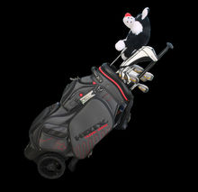 Helix 2015 Nylon golf clubs travel bag with wheels /cart golf bag with wheels /stands for golf bag,staff golf bag with wheels