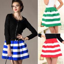 nueva moda las mujeres una línea de alta rayas falda de cintura del caramelo de color falda corta falda de burbuja 3 19724 color