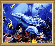 40*50cm factory price diy painting by numbers, fish art painting