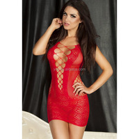 Hot Crochet Mesh Hollow Out Baby Doll Women Sexy Lingerie See-through Mini Chemise Dress Bodysuit Erotic Lingerie Black/Red