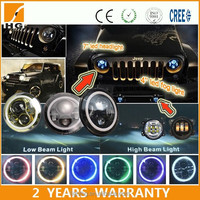 7'' high low beam halo ring led head light for jeep