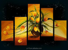 Hot selling still lifeartwork oil painting on canvas,5pcs panel home decor painting