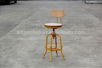 Triumph Retro Adjustable Metal Bar Stool / Armless Vintage Metal Stool/Toledo Plywood Backrest Stool