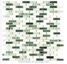 Brick Style Dark and Mint Green, and White Thassos Polished Marble Mosaic Tile