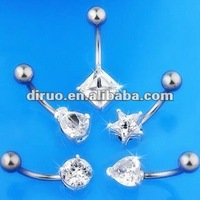 CLEAR CZ GEM BELLY RING SOLITAIRE NAVEL JEWELRY EC24
