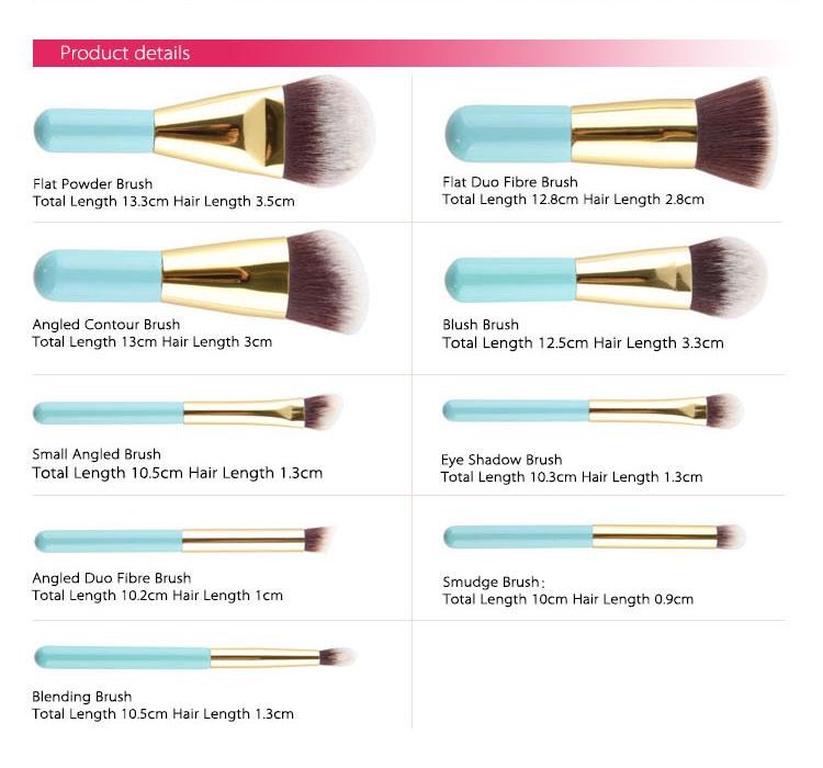 Makeup brush names and