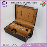 Excellent leather-wrapped MDF wood gift boxes for wine bottles