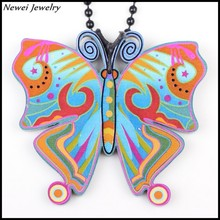 Newei 2015 Fashion Jewelry Accessories Multicolor Animal Printing Pattern Pendant Acrylic Butterfly Necklace For Women