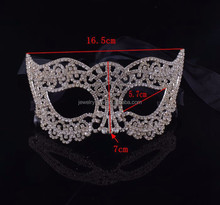 fashion metal silver plated simple design custom face mask with crystal