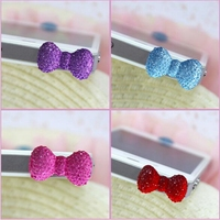 Cute Crystal Resin Colorful Candy Color Bowknot Shaped Girl's Cellphone dust plug
