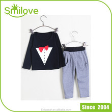 Korean sweet baby clothes wholesale price leisure style organic cotton outfit sets girl