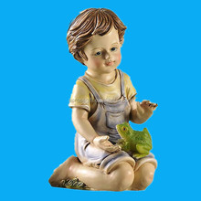 garden polyresin craft gift cute sitting boy figurine statue