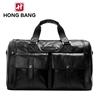 Blcak genuine leather men's functional laptop travel bags