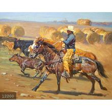 100% Hand-painted landscape art western cowboy oil painting on canvas,riding on horse