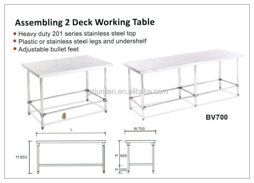 Cuisine Table de travail, En acier inoxydable workbench, En acier inoxydable Restaurant Table de travail
