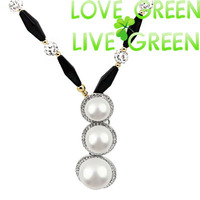 large 3 pearl string long sweater chain 80 cm 18K Gold Plated rhinestones crystal ball chain pendants Necklace 89995
