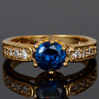 2015 Wholesale Jewelry Round Cut Blue Sapphire Press Silver Tone Dress Ring