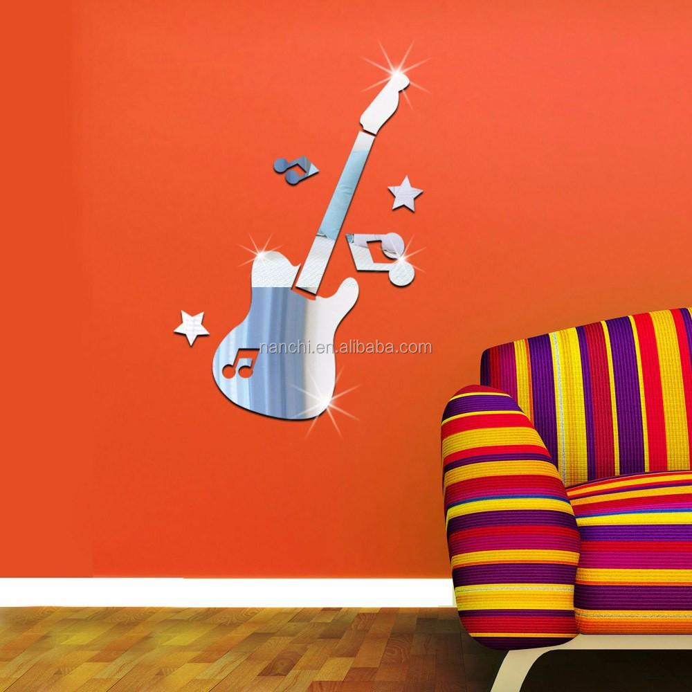 Note di chitarra acrilico murale autoadesivo della parete a ...
