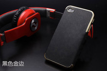 new arrival luxury leather electroplate aluminum fashion cover fit for iphone 5 5G 5S case for iphone 5 matching