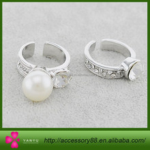 New super pearl and diamond ring set exaggeration, opening two diamond ring