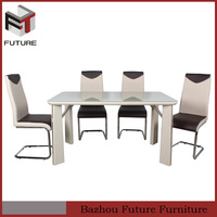white tempered glass dining table and chairs sets