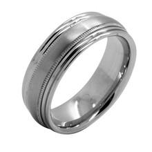 comfort fit design 2 milgrain line 7.5mm polished edge mens titanium ring