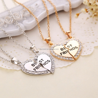 2015 Movie jewelry Broken Heart Alloy Rhinestone Necklace High Quality Joint 2 Part Heart Necklace For Best Friend Necklace