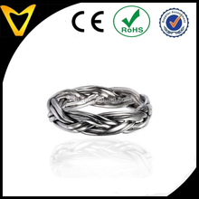 925 Oxidized Sterling Silver 4.5 mm Braided Woven Wave Antique Style Band Ring